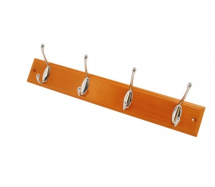 4 Chrome Hooks On Teak Effect Wooden Mount