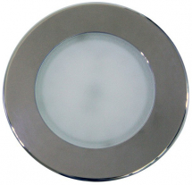 120mm Recessed Overhead LED Light White / Blue Stainless Bezel