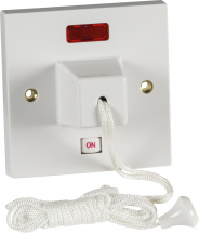 Pull Cord Ceiling Switch With Neon 45Amp