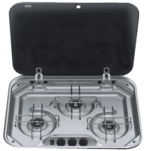 Dometic 8023 3 Burner Hob St/St c/w Glass Lid & Seal
